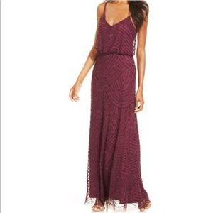 Adriana Papell Art Deco dress cassis size 4